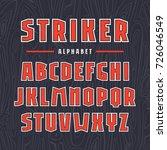 sans serif font with contour.... | Shutterstock .eps vector #726046549