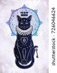 black cat silhouette portrait...   Shutterstock .eps vector #726046624