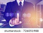 businessman touching home... | Shutterstock . vector #726051988