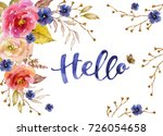 watercolor card with flowers ... | Shutterstock . vector #726054658