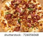 pizza hawaiian | Shutterstock . vector #726056068