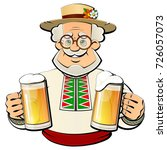 old brewer with a light beer in ... | Shutterstock .eps vector #726057073