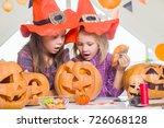 two little girls in costumes... | Shutterstock . vector #726068128