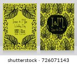 two wedding cards with monstera ... | Shutterstock .eps vector #726071143