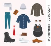 collection of various wear and... | Shutterstock .eps vector #726072244