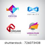 vector set of abstract origami... | Shutterstock .eps vector #726073438