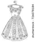 hand drawn dress. sketch for... | Shutterstock .eps vector #726078184