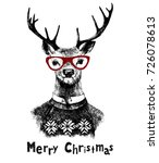 hand drawn christmas card with... | Shutterstock .eps vector #726078613