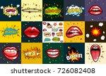 seamless pattern cartoon comic... | Shutterstock . vector #726082408