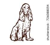 spaniel dog hand drawn outline...   Shutterstock .eps vector #726088054