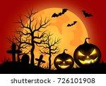 halloween pumpkins with orange... | Shutterstock .eps vector #726101908