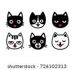 cute cartoon cat drawing set ... | Shutterstock .eps vector #726102313