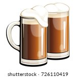 dark beer in glass mugs. | Shutterstock .eps vector #726110419