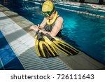 woman freediving underwater in... | Shutterstock . vector #726111643