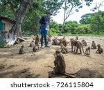 monkey waiting for corn from... | Shutterstock . vector #726115804