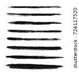 set of black paint  ink brush...   Shutterstock .eps vector #726117520