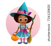 Cute Little Witch In Halloween...