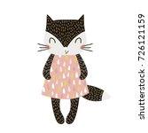 cute cartoon cat girl in... | Shutterstock .eps vector #726121159