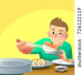 man eating sushi a lot of plate ...   Shutterstock .eps vector #726122119