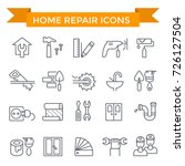 home repair icons  line flat...