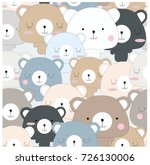 vintage seamless cute teddy... | Shutterstock .eps vector #726130006