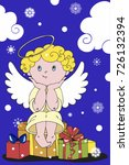 angel sits on presents. happy... | Shutterstock .eps vector #726132394