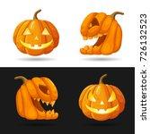 set of jack o lantern heads... | Shutterstock .eps vector #726132523