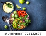 bowl with healthy salad  dip ... | Shutterstock . vector #726132679
