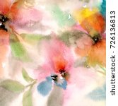 Stock photo retro background with flowers watercolor floral background greeting card wedding invitation 726136813