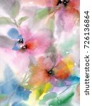 floral background. watercolor... | Shutterstock . vector #726136864