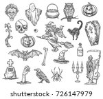 halloween monsters and symbols... | Shutterstock .eps vector #726147979
