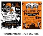 halloween pumpkin  pirate skull ... | Shutterstock .eps vector #726157786
