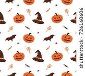 halloween pumpkin witch hat... | Shutterstock .eps vector #726160606