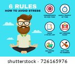 6 rules to avoid stress... | Shutterstock .eps vector #726165976