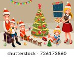 winter family at christmas... | Shutterstock . vector #726173860