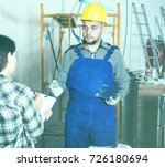 constructor with spatula is... | Shutterstock . vector #726180694