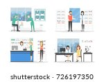 people at eyeglasses store set. ... | Shutterstock .eps vector #726197350
