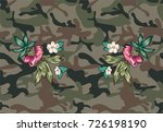 flowers patch embroidery with...   Shutterstock .eps vector #726198190