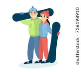 couple with snowboards ion the... | Shutterstock .eps vector #726198910