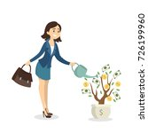 woman watering money tree. idea ... | Shutterstock .eps vector #726199960