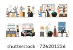 halloween party at office set.... | Shutterstock .eps vector #726201226