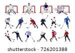 hockey players set on white...   Shutterstock .eps vector #726201388