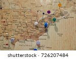 map with pins  shallow dof | Shutterstock . vector #726207484