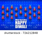 decorated diya on happy diwali... | Shutterstock .eps vector #726212848