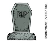 grave with a tombstone ... | Shutterstock .eps vector #726214480
