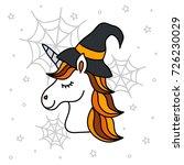 cute halloween unicorn portrait ... | Shutterstock .eps vector #726230029