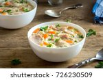 chicken and wild rice soup.... | Shutterstock . vector #726230509
