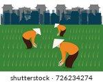 vietnamese farmer in rice | Shutterstock .eps vector #726234274
