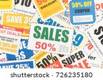 saving discount coupon voucher  ... | Shutterstock . vector #726235180