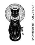 black cat silhouette portrait... | Shutterstock .eps vector #726244714